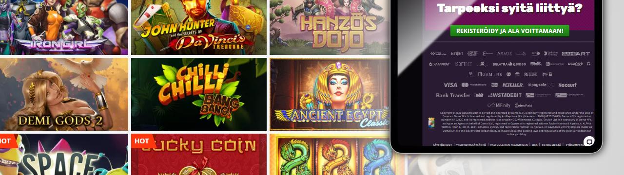 Erilaisia pelejä parhailta online-kasino-ohjelmistotoimittajilta